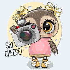 Cartoon Owl with a camera on a blue background