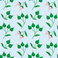 Fresh pink and green hand drawn buds on a subtly striped light blue background. Elegant vintage style seamless vector pattern perfect for stationery, textiles, home decor, giftwrapping, packaging
