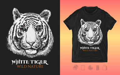White tiger head. Print for t-shirts and another, trendy apparel design