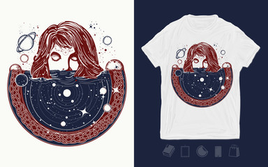 Girl and space, goodnes woman and galaxy. Print for t-shirts and another, trendy apparel design. Symbol of magic, esoterics, astrology. Surreal girl sinks in universe