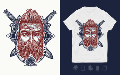 Viking. Print for t-shirts and another, trendy apparel design. Bearded barbarian of Scandinavia, crossed swords, god Odin. Symbol of force, courage