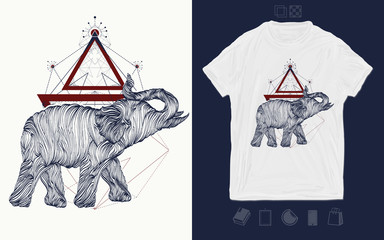 Magic elephant. Print for t-shirts and another, trendy apparel design. Symbol of meditation, tourism
