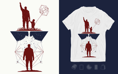 Father and son. Print for t-shirts and another, trendy apparel design. Concept of memory. Immortality of human life