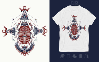 Ancient Egypt, mythology. Egyptian scarab symbol of pharaoh, gods Ra, sun. Print for t-shirts and another, trendy apparel design