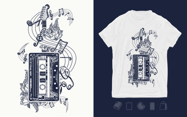 Audio cassette, guitar and music notes. Print for t-shirts and another, trendy apparel design. Retro music, nostalgia, 80th and 90th