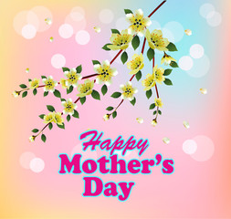 Happy Mother's Day background with flowers on the tree.