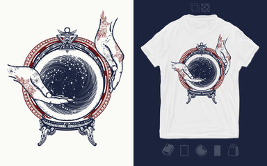 Fortune telling. Magic ball. Print for t-shirts and another, trendy apparel design