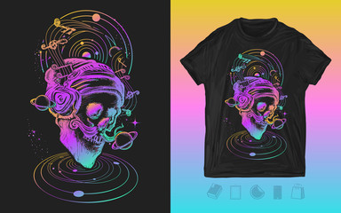 Human skull and universe. Neon music print for t-shirts and another