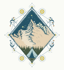 Night mountains. Tattoo and t-shirt design. Symbol of tourism, travel, adventures, meditation, climbing, camping, great outdoors