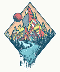 Mountains and river. Tattoo and t-shirt design. Outdoors concept. Meditation symbols, travel, tourism