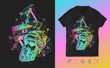 Old school music. Neon print for t-shirts and another, trendy apparel design. Bearded hipster in earphone. Symbol of pop music, hard rock, heavy metal, disco