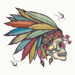 Indian skull. Tattoo and t-shirt design. Warrior symbol. Native American indian feather headdress with human skull