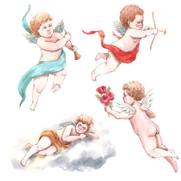 Watercolor angel putti illustration