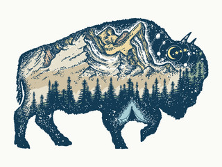 Buffalo bull tattoo and t-shirt design. Magic tribal bison double exposure animals. Travel symbol, adventure tourism. Mountain, forest, night sky