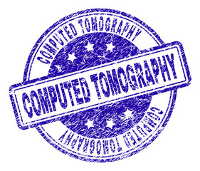 COMPUTED TOMOGRAPHY stamp seal imprint with grunge style. Designed with rounded rectangles and circles. Blue vector rubber print of COMPUTED TOMOGRAPHY caption with grunge texture.