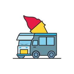 ice cream car isolated icon