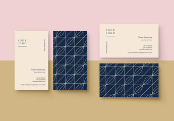 Blue and Cream Patterned Business Card Layout