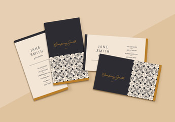 Business Card Layout with Abstract Pattern and Tan Accents