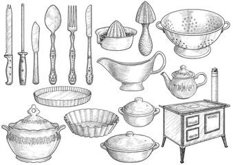 Kitchen equipment, utensil collection illustration, drawing, engraving, ink, line art, vector