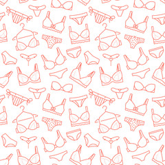 0799e4b3bb73 Lingerie seamless pattern with flat line icons of bra types, panties ...