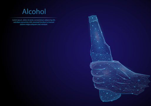 Hand with beer bottle. Abstract image in the form of a starry sky or space, consisting of points, lines, and shapes in the form of planets and stars in blue color. Low poly vector background.