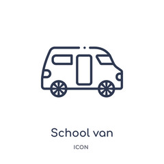 school van icon from transport outline collection. Thin line school van icon isolated on white background.