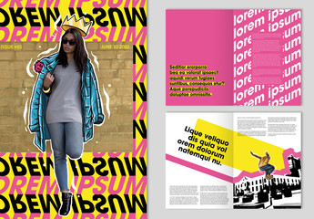 Magazine Layout with Pink and Yellow Accents