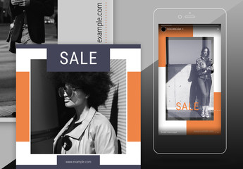 Social Media Post Layout Set with Orange Accents