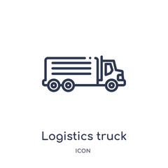 logistics truck icon from transport outline collection. Thin line logistics truck icon isolated on white background.