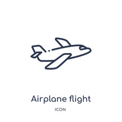 airplane flight icon from transport outline collection. Thin line airplane flight icon isolated on white background.