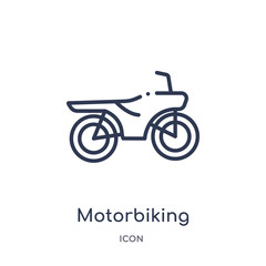 motorbiking icon from transport outline collection. Thin line motorbiking icon isolated on white background.