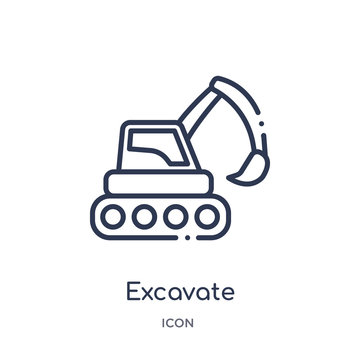 excavate icon from transport outline collection. Thin line excavate icon isolated on white background.