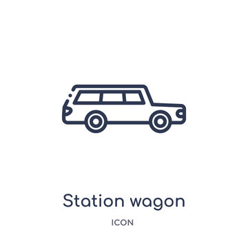 station wagon icon from transport outline collection. Thin line station wagon icon isolated on white background.