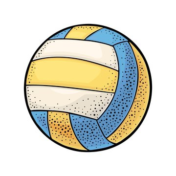 Water polo ball. Vintage vector engraving illustration. Isolated on white
