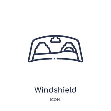 windshield icon from transportation outline collection. Thin line windshield icon isolated on white background.
