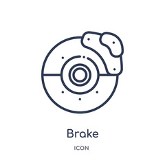 brake icon from transportation outline collection. Thin line brake icon isolated on white background.