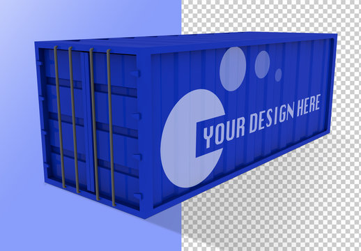Blue Shipping Container Mockup