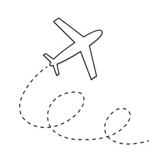 airplane with route sign- vector illustration
