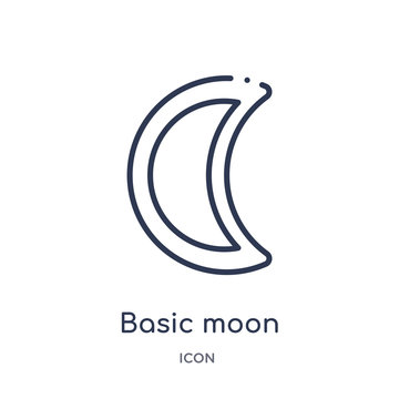 basic moon icon from travel outline collection. Thin line basic moon icon isolated on white background.