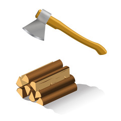 Axe and firewood. Vector illustration