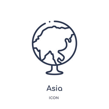 asia icon from travel outline collection. Thin line asia icon isolated on white background.