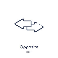 opposite directions icon from user interface outline collection. Thin line opposite directions icon isolated on white background.