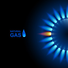 Gas flame with blue reflection on dark backdrop. Vector background. EPS 10