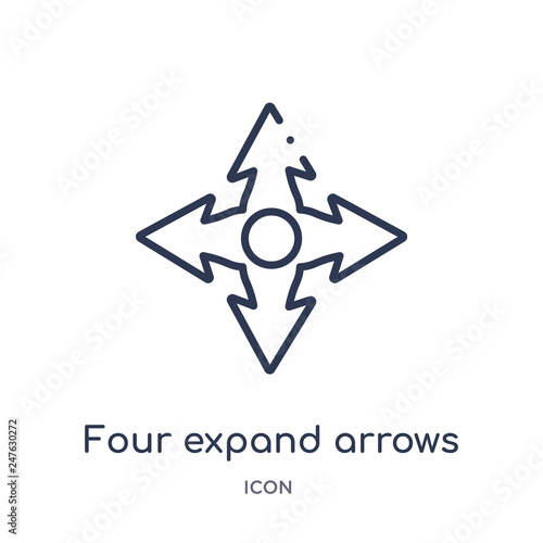 four expand arrows icon from user interface outline