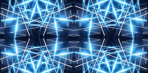 Abstract blue neon background, dark background. Abstract light, abstract rays. Abstract tunnel, portal blue.