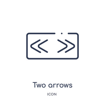 two arrows pointing right and left icon from user interface outline collection. Thin line two arrows pointing right and left icon isolated on white background.