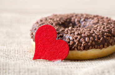 Sweet gift for Valentines day, donut with heart and love