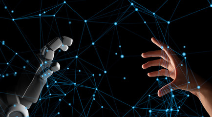 Human hand and robot hand with network connection lines on black screen background, artificial intelligence, AI, in futuristic digital technology and business concept, 3d illustration