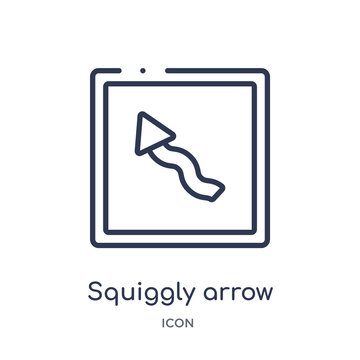 squiggly arrow icon from user interface outline collection. Thin line squiggly arrow icon isolated on white background.