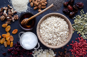Ingredients for homemade granola Wall mural